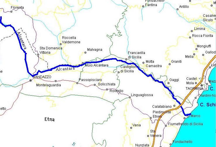 The path of the Alcantara River