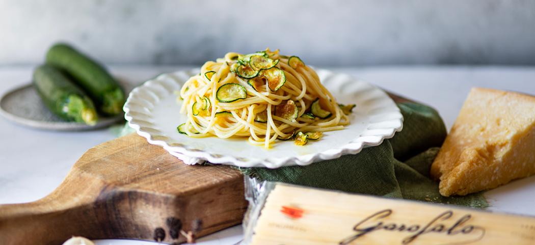 Spaghetti alla Nerano- Courtesy of Pasta Garofalo. Click on image for full recipe